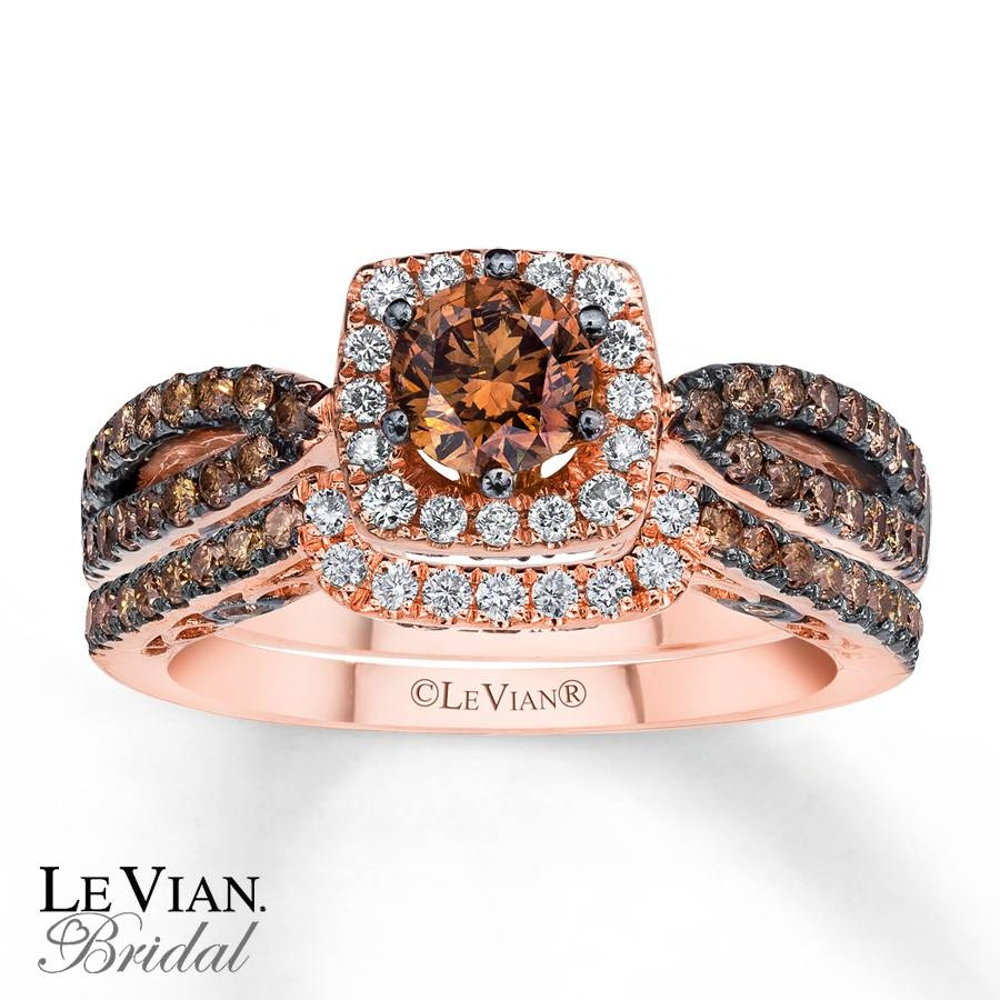Kay – Levian Chocolate Diamonds 1 3/8 Ct Tw Bridal Set 14K Gold Pertaining To 2018 Chocolate Diamond Anniversary Rings (View 17 of 25)