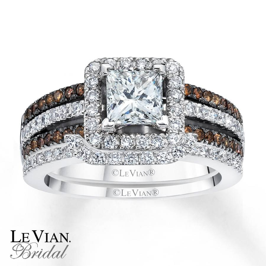 Kay – Levian Chocolate Diamonds 1 5/8 Ct Tw Bridal Set 14K Gold With 2018 Chocolate Diamond Anniversary Rings (View 18 of 25)