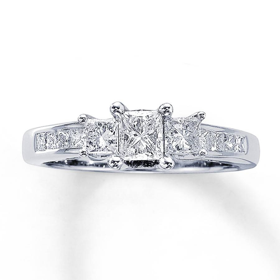 Kay – Three Stone Diamond Ring 1 Ct Tw Princess Cut 14K White Gold With Regard To Most Recent Three Stone Diamond Anniversary Rings (View 7 of 25)