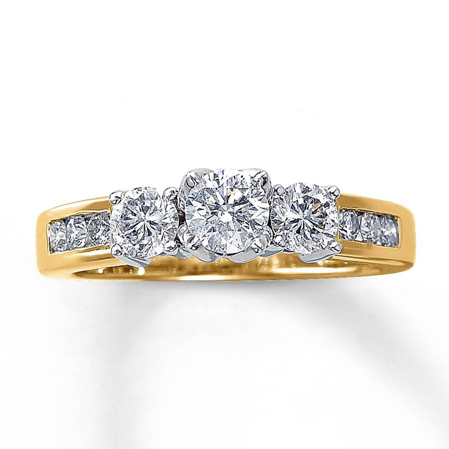Kay – Three Stone Diamond Ring 1 Ct Tw Round Cut 14K Yellow Gold Throughout Most Current Three Stone Diamond Anniversary Rings (Gallery 19 of 25)
