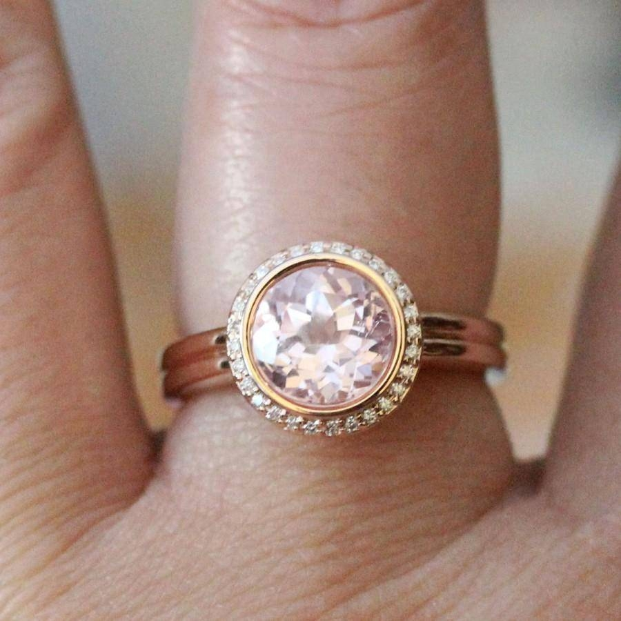 Kunzite 14k Rose Gold Ring, Kunzite And Diamond Ring, Engagement Intended For Recent Stacking Anniversary Rings (View 17 of 25)