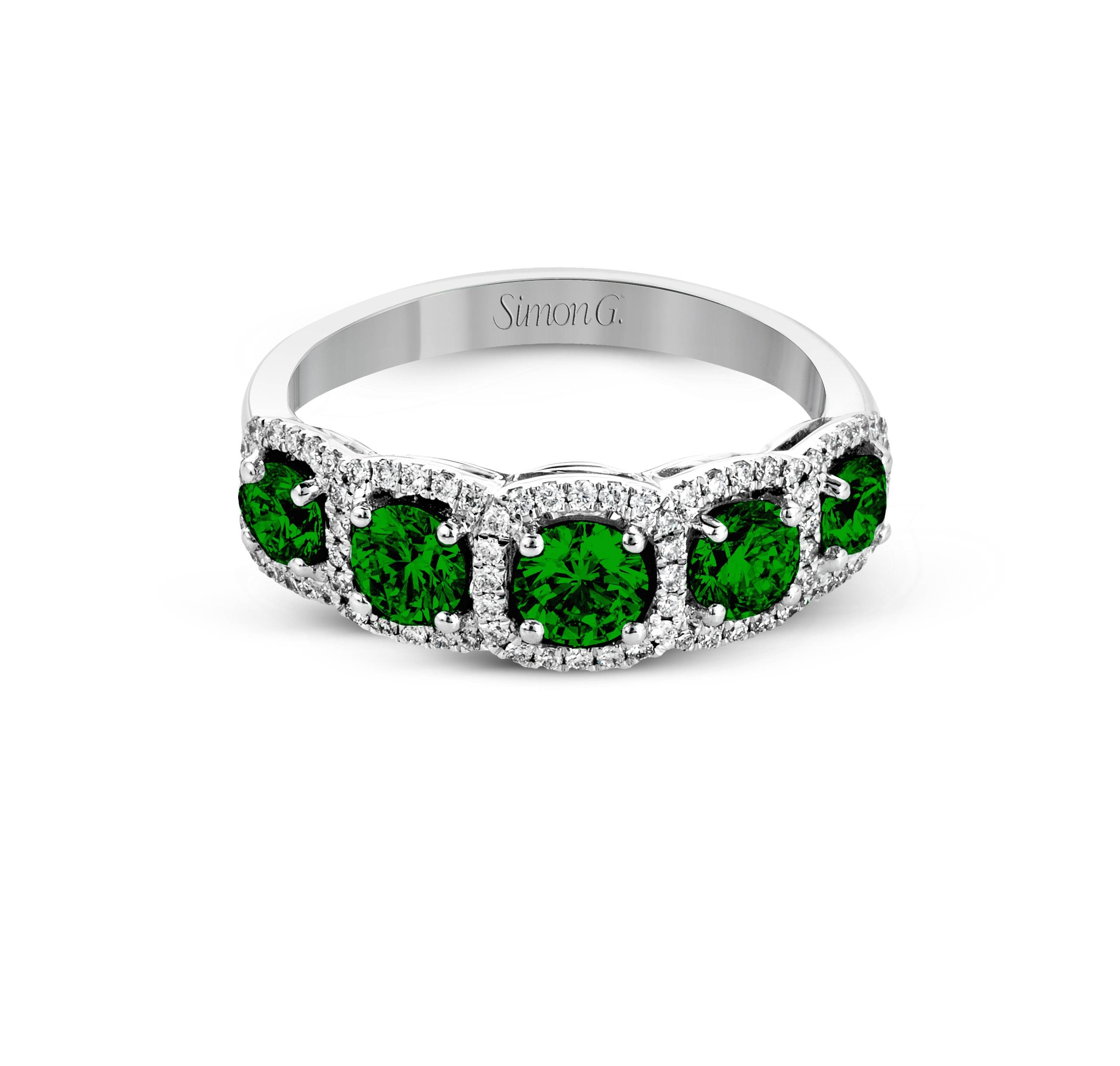 Ladies Simon G 18k Emerald Diamond Anniversary Band – Jewelstashne With Regard To Recent Emerald Anniversary Rings (View 2 of 25)