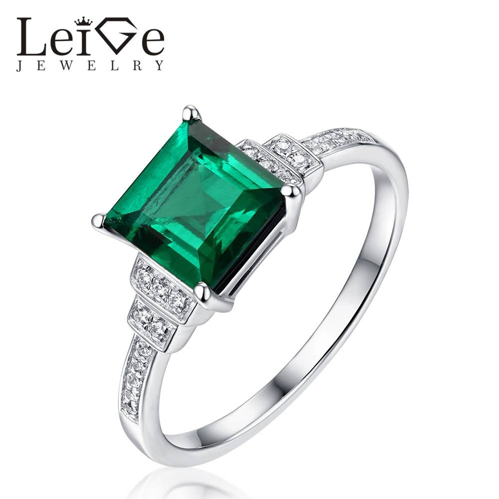 Leige Jewelry Classic Square Cut Emerald Ring 925 Sterling Silver For Recent Emerald Anniversary Rings (View 18 of 25)