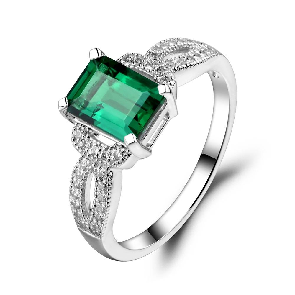 Leige Jewelry Emerald Ring 925 Sterling Silver Wedding Anniversary Pertaining To Recent Emerald Anniversary Rings (View 6 of 25)