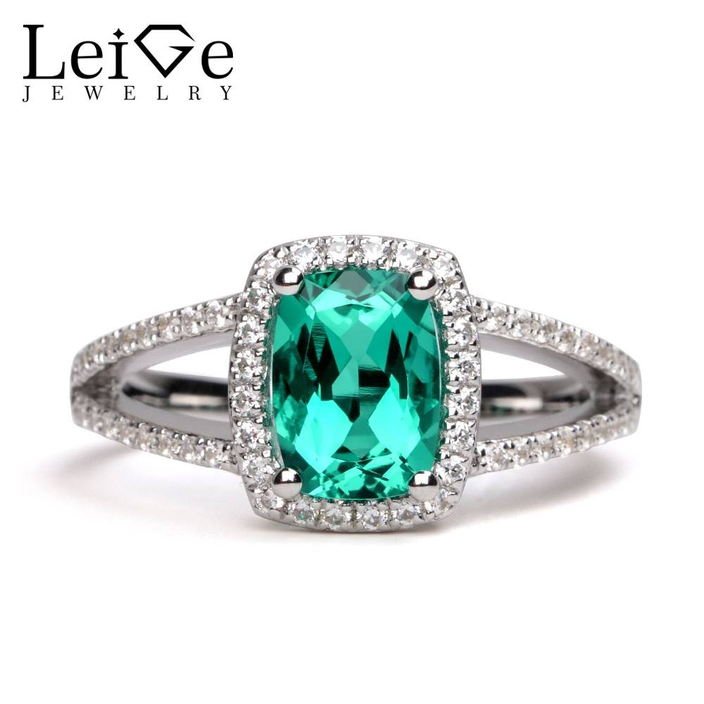 Leige Jewelry Emerald Ring Silver 925 Fine Jewelry Double Band Within 2018 Gemstone Anniversary Rings (View 11 of 25)
