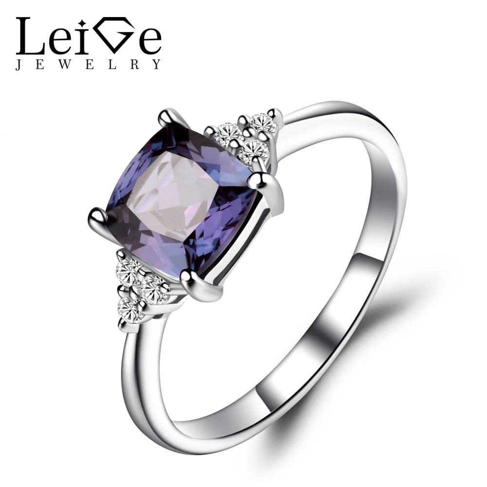 Leige Jewelry Lab Alexandrite Anniversary Rings Solid 925 Sterling Throughout Most Recent Gemstone Anniversary Rings (View 12 of 25)