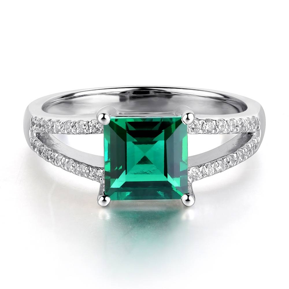 Leige Jewelry Lab Created Emerald Ring Green Gemstone Engagement Regarding Most Current Emerald Anniversary Rings (View 12 of 25)