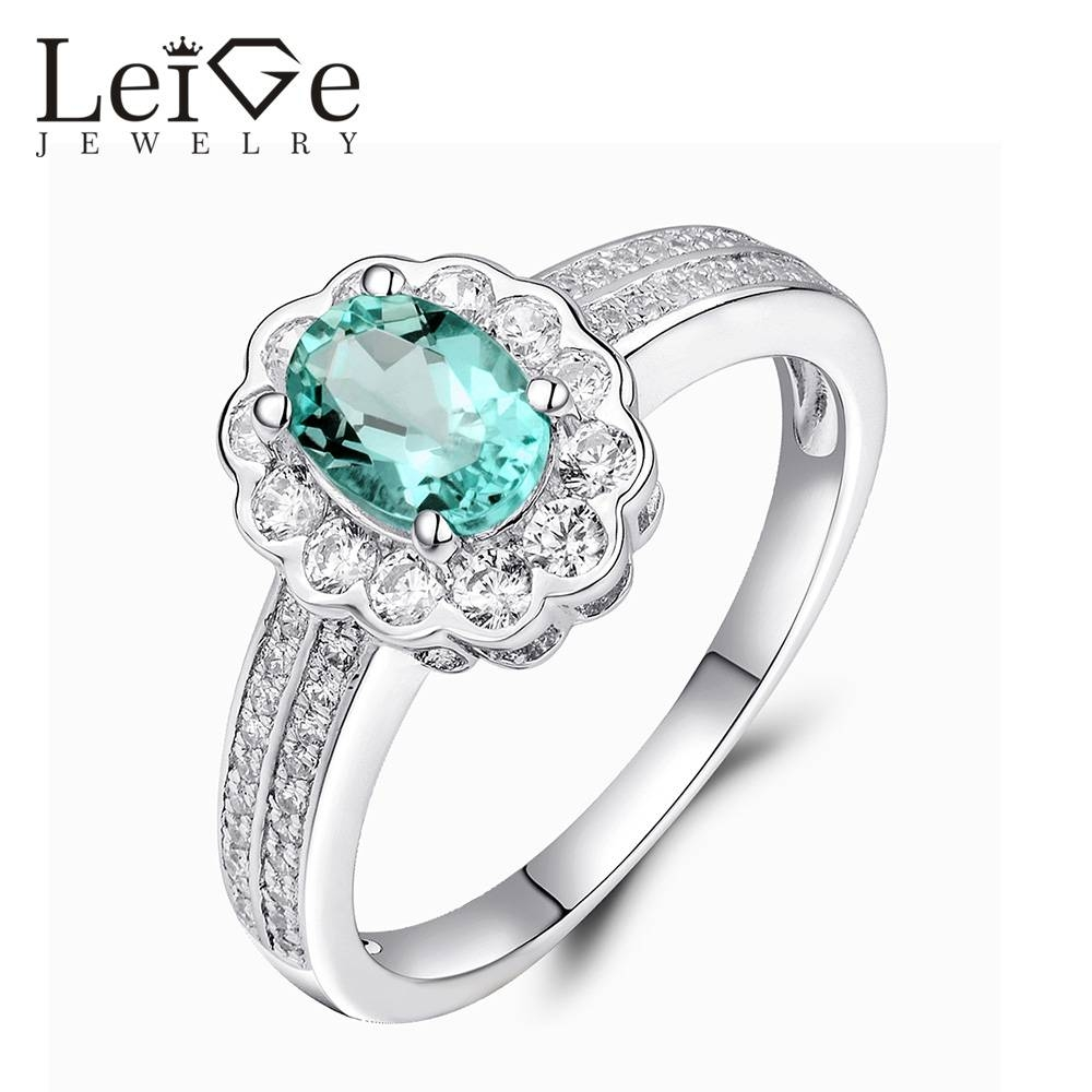 Leige Jewelry Oval Cut Natural Apatite Ring Green Gemstone Regarding Latest Gemstone Anniversary Rings (View 13 of 25)