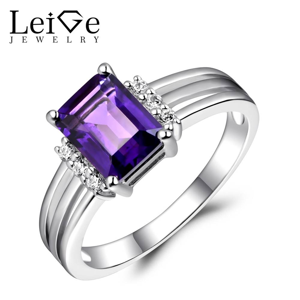 Leige Jewelry Sterling Silver 925 Rings Amethyst Natural Purple Inside Best And Newest Gemstone Anniversary Rings (View 14 of 25)