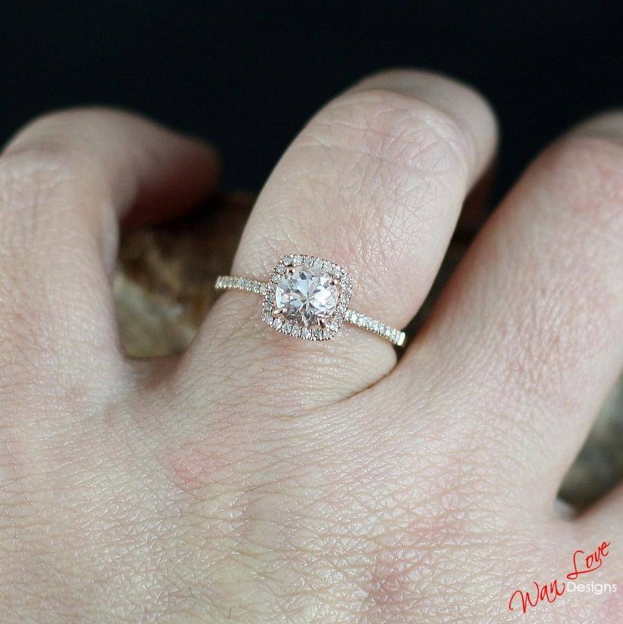 Light Pink Sapphire & Diamond Cushion Halo Engagement Ring 1Ct 6Mm With Regard To Latest Custom Made Anniversary Rings (View 23 of 25)