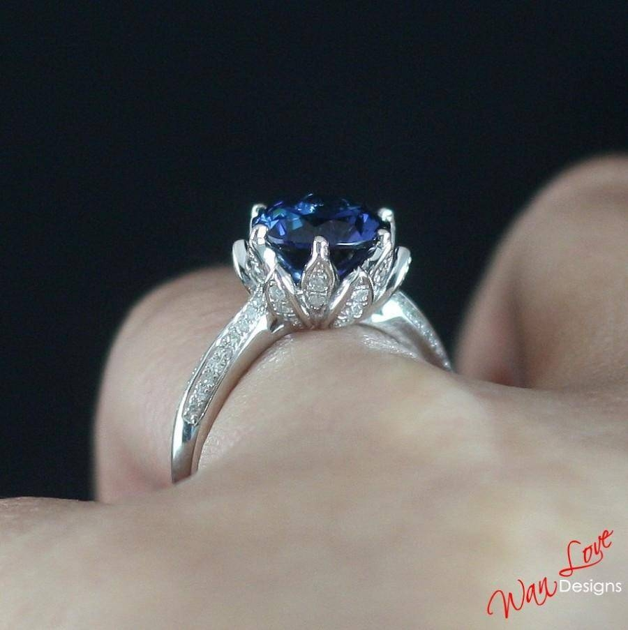 Lotus Flower Diamond & Blue Sapphire Engagement Ring Round 2Ct 8Mm Throughout Newest Custom Made Anniversary Rings (View 8 of 25)