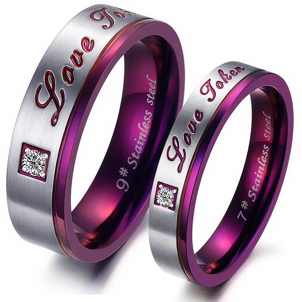 Love Token His And Her Lovers' Ring Anniversary Gift Titanium With Most Popular His And Her Anniversary Rings (Gallery 21 of 25)