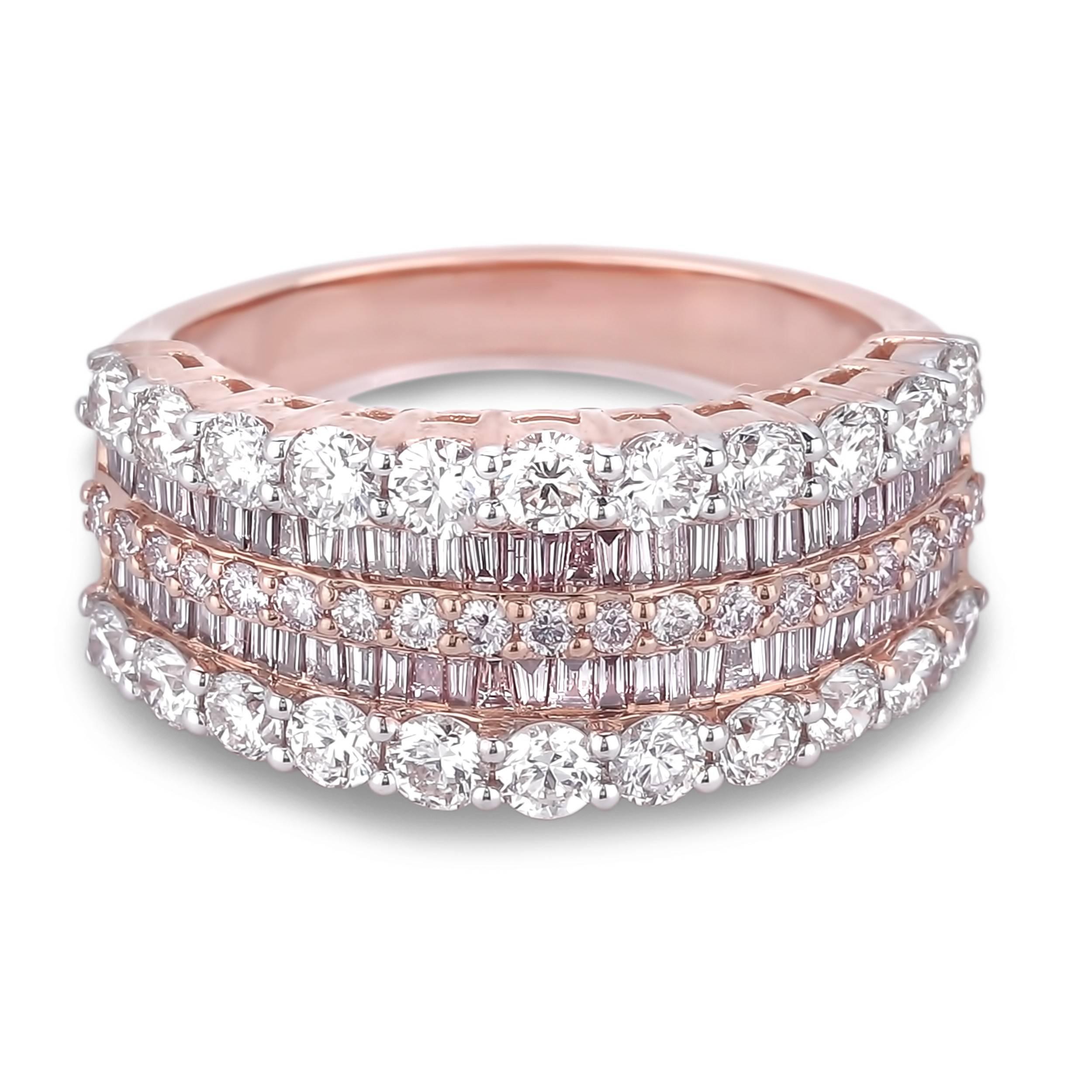 Lugaro | Argyle Pink Diamond Anniversary Ring In 2018 Baguette Diamond Anniversary Rings (Gallery 2 of 25)