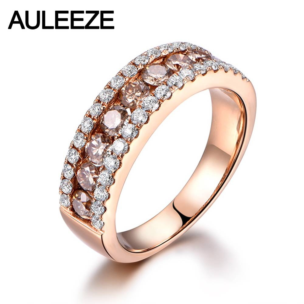 Luxury Real Brown Diamond Wedding Band Solid 14K 585 Rose Gold For Current Rose Gold Anniversary Rings (View 14 of 25)
