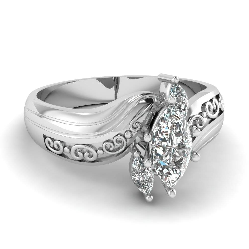 Marquise 3 Diamond Engagement Ring In 14K White Gold | Fascinating Pertaining To Most Recent 3 Stone Anniversary Rings Settings (Gallery 18 of 25)
