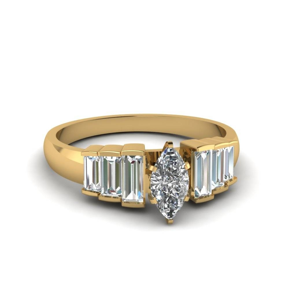 Marquise Cut Baguette Diamond Accents 7 Stone Engagement Ring In Intended For Recent 7 Marquise Diamond Anniversary Rings (Gallery 22 of 25)