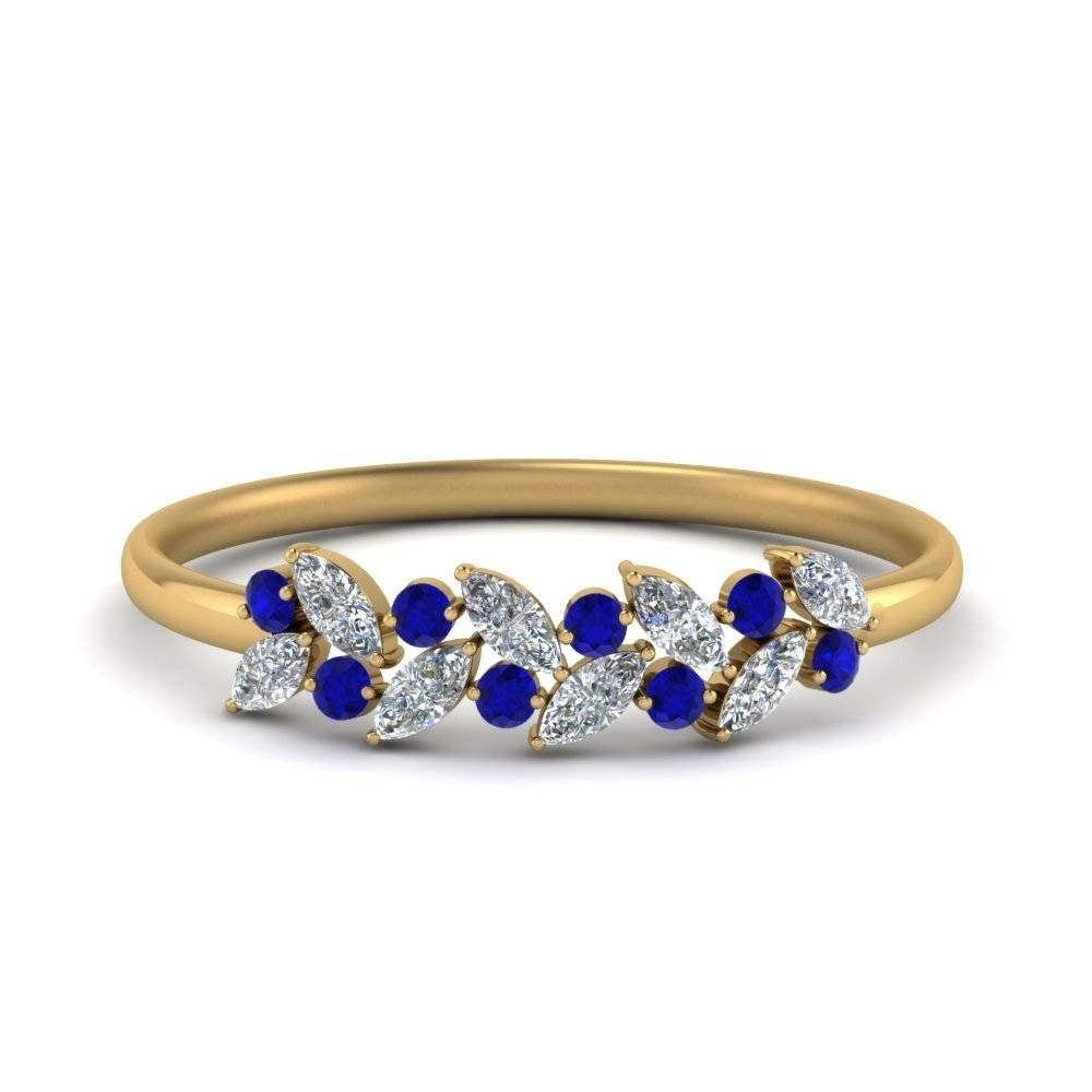 Marquise Diamond Wedding Anniversary Ring In 14K Yellow Gold Intended For Most Popular Sapphire And Diamond Anniversary Rings (View 17 of 25)