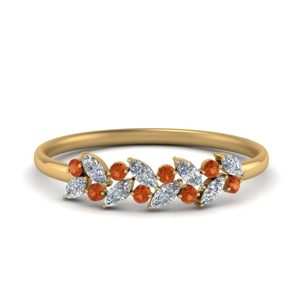 Marquise Diamond Wedding Anniversary Ring With Orange Sapphire In Throughout Best And Newest Marquise Diamond Anniversary Rings (View 18 of 25)