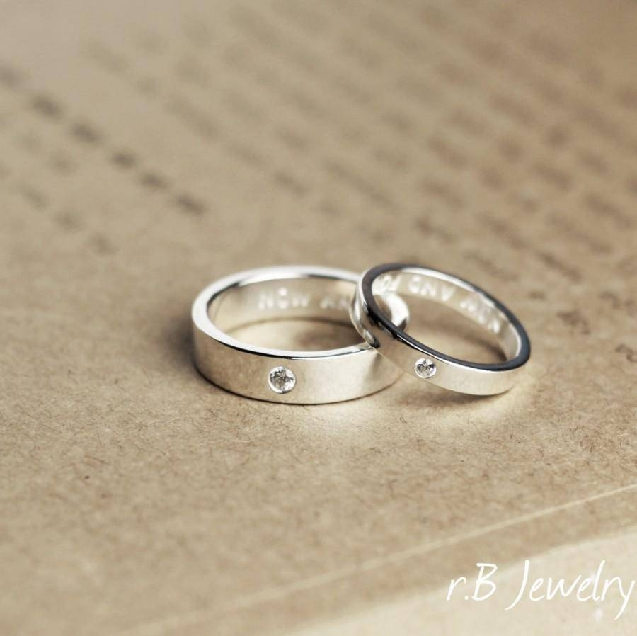 Matching Promise Rings, His And Her, Anniversary Gift, Gift For Pertaining To 2018 His And Her Anniversary Rings (View 12 of 25)