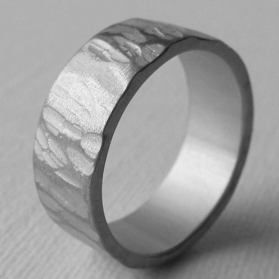 Men's Aluminum Wide Textured Wedding Ring 10Th Anniversary For Most Current Ten Year Wedding Anniversary Rings (View 21 of 25)