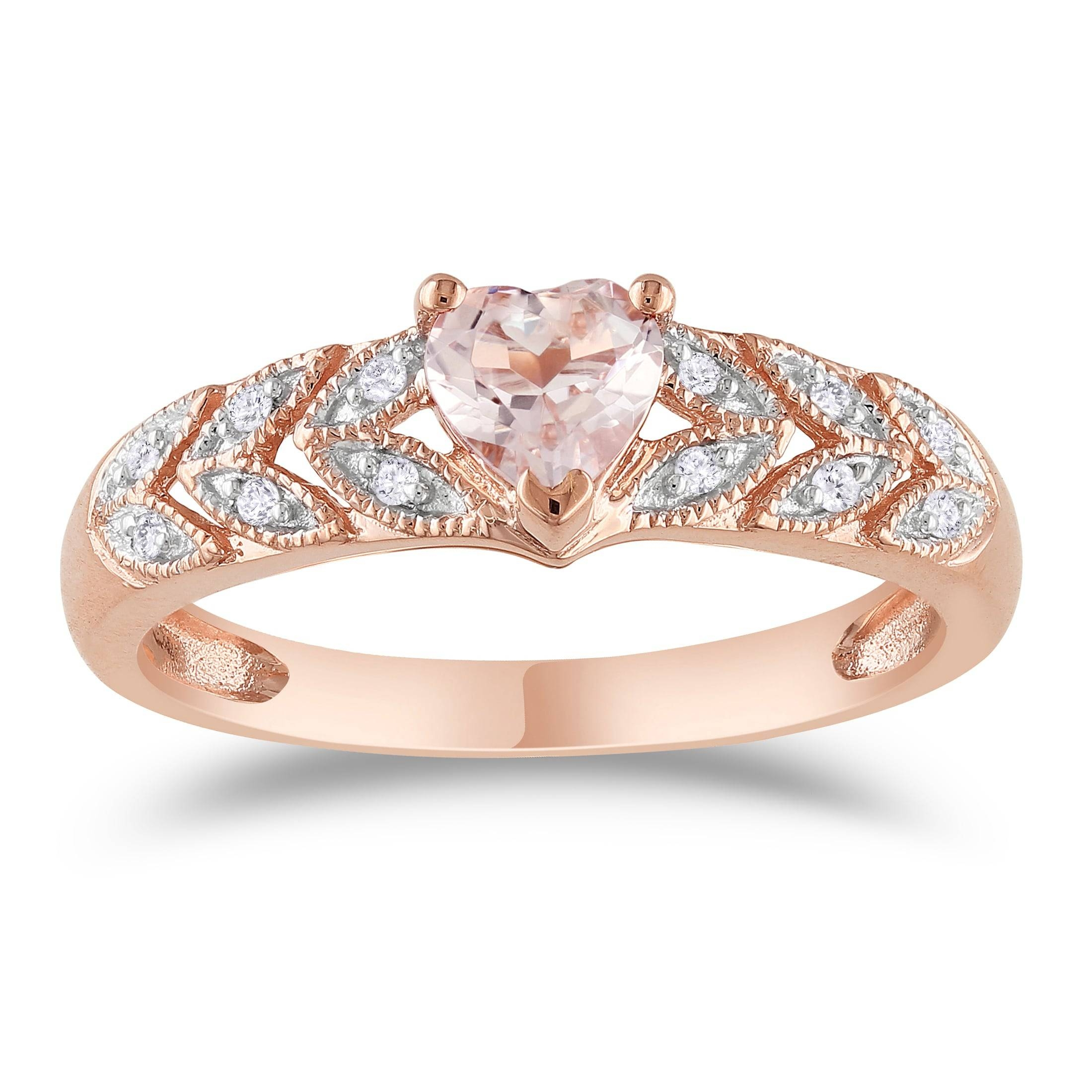 Miadora 10K Rose Gold Heart Cut Morganite And Diamond Accent Leaf With Regard To 2017 Rose Gold Anniversary Rings (Gallery 20 of 25)