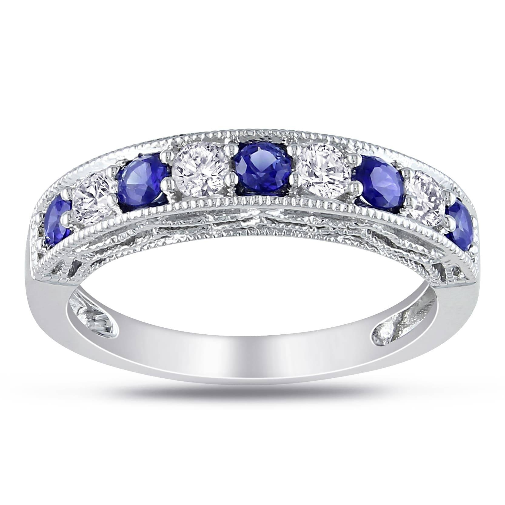 Miadora Sterling Silver Created Blue And White Sapphire Stackable Regarding Current Silver Wedding Anniversary Rings (Gallery 24 of 25)