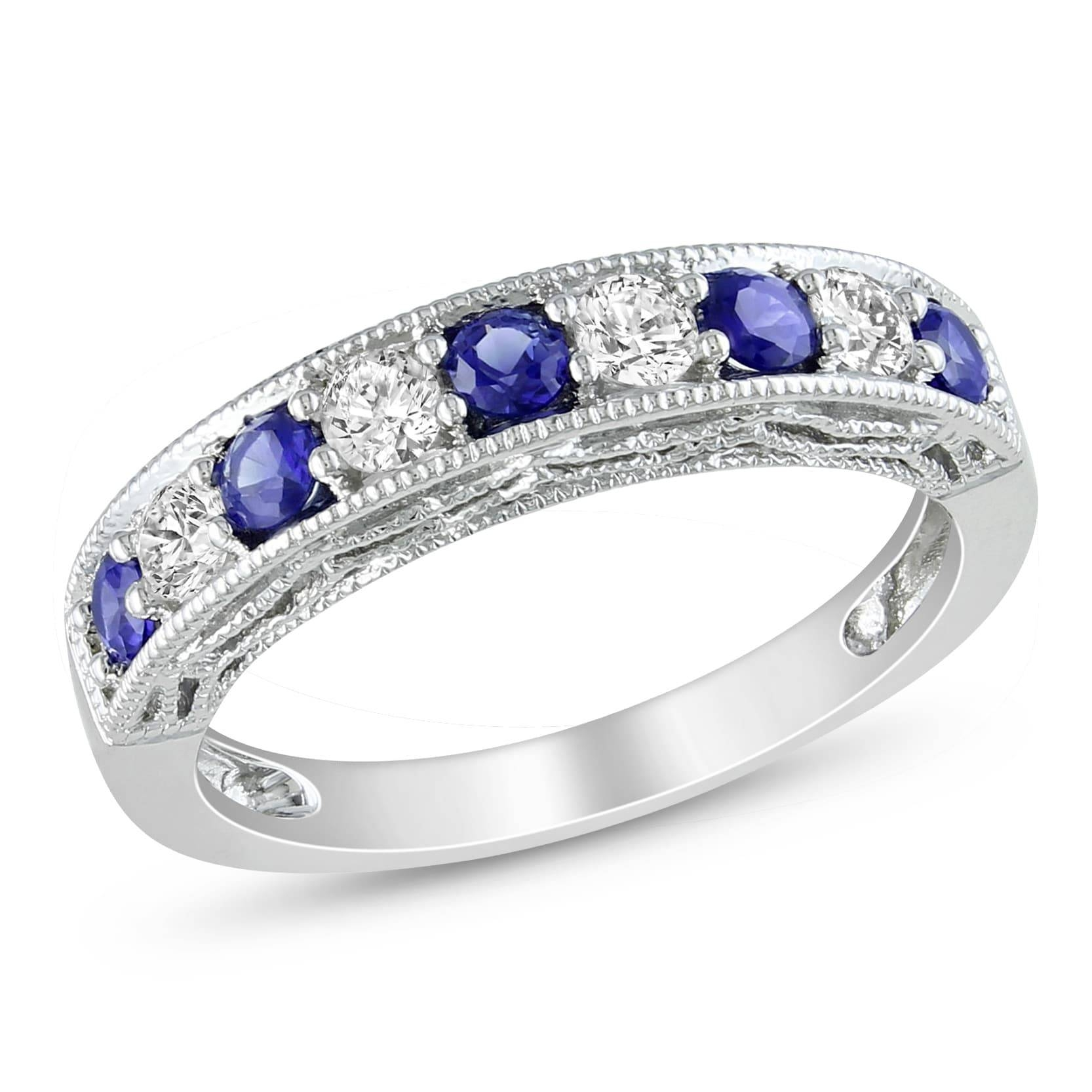 Miadora Sterling Silver Created Blue And White Sapphire Stackable Throughout Latest Diamond And Sapphire Anniversary Rings (Gallery 23 of 25)