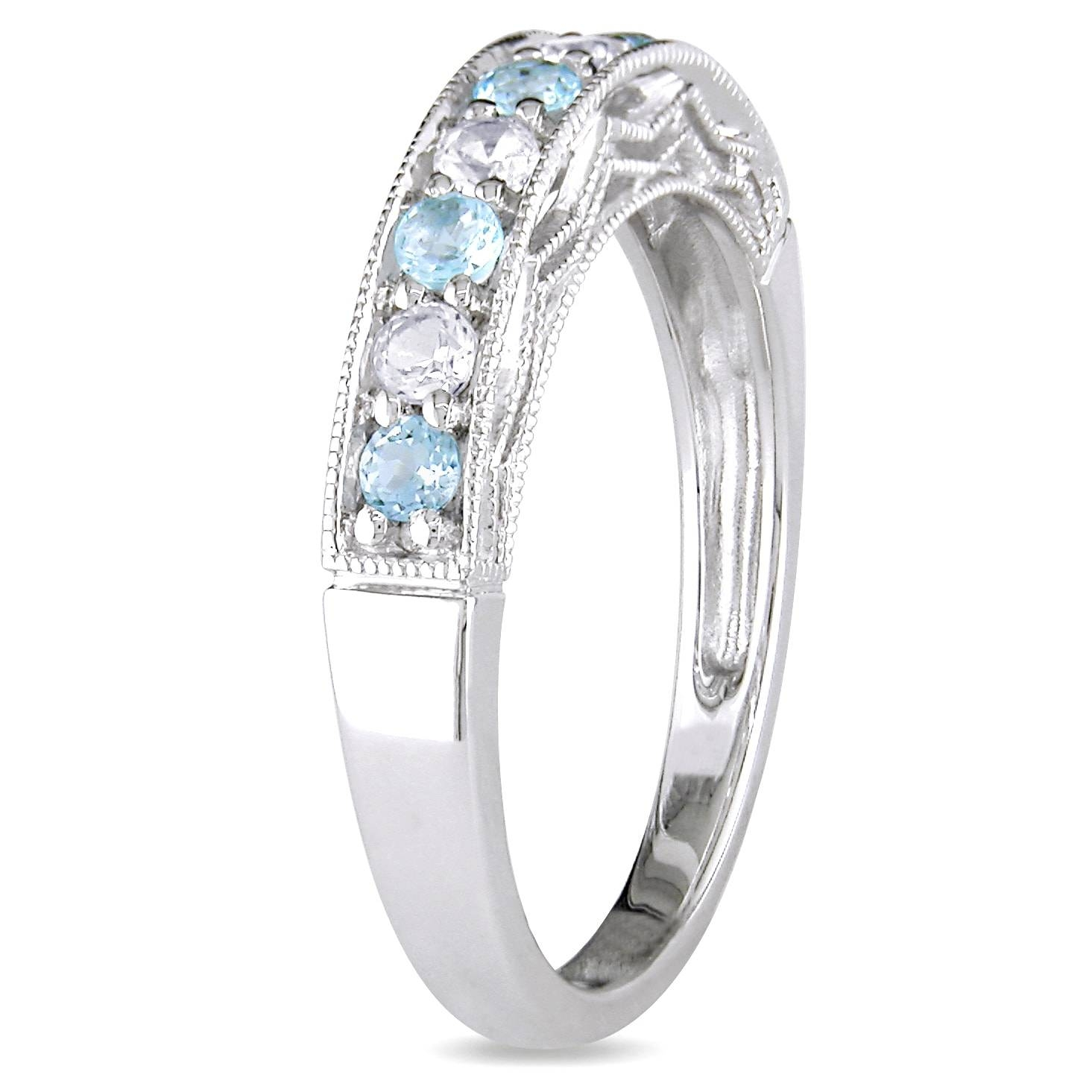Miadora Sterling Silver White Sapphire And Gemstone Stackable Pertaining To Most Popular Stackable Anniversary Rings (View 8 of 25)