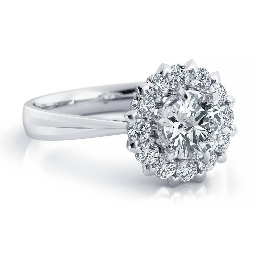 Moissanite Forever One Diamond Halo Engagement Ring, Moissanite Regarding Most Recently Released Platinum Diamond Anniversary Rings (View 16 of 25)