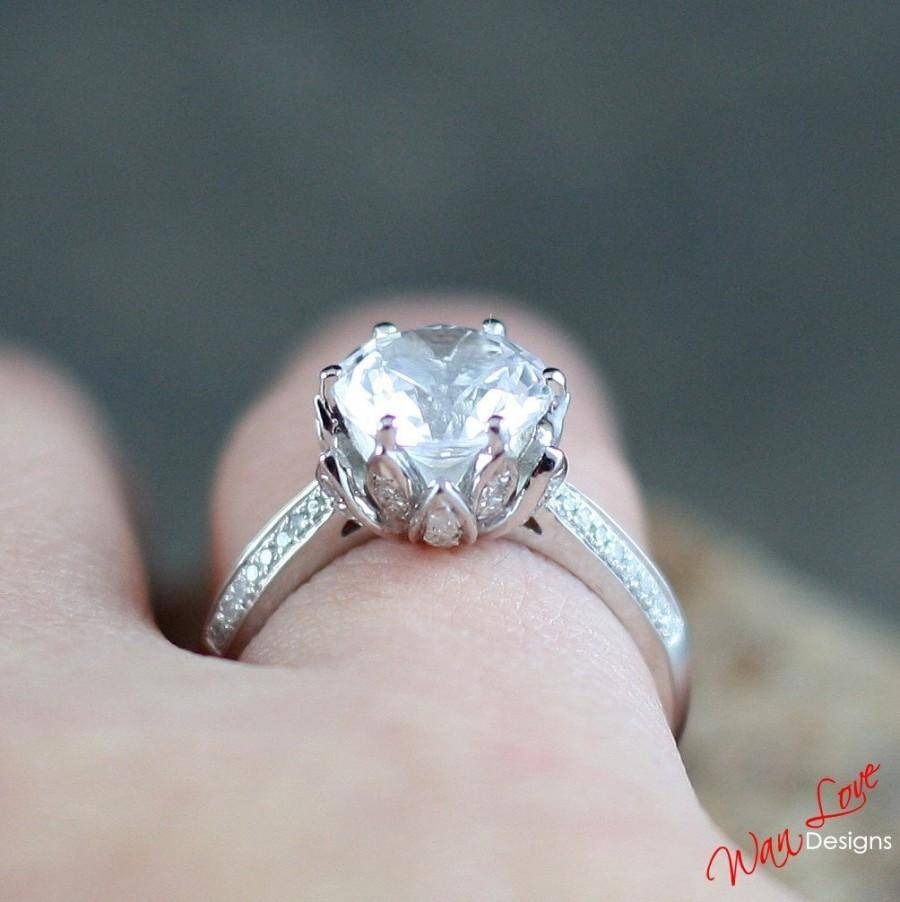 Moissanite Lotus Flower Diamond Engagement Ring 2 Ct 8 Mm 14K 18K In 2017 Custom Made Anniversary Rings (View 17 of 25)