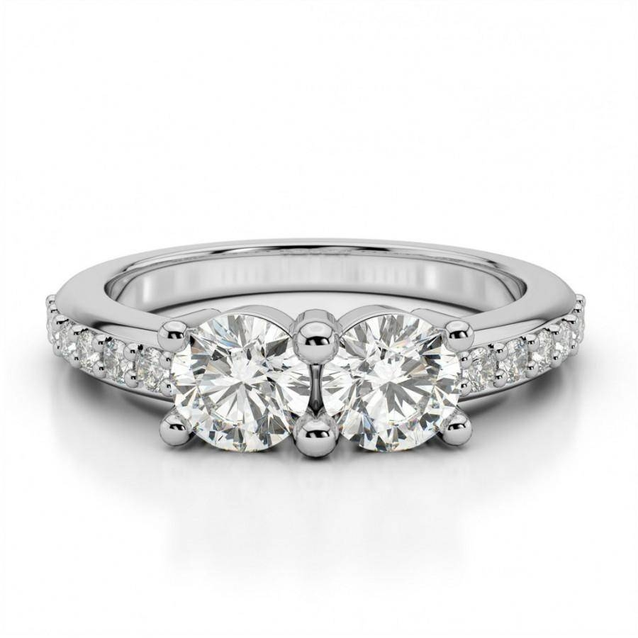 Moissanite Two Stone Diamond Engagement Ring, Promise Or With Regard To Recent Wedding Anniversary Rings For Her (View 11 of 25)