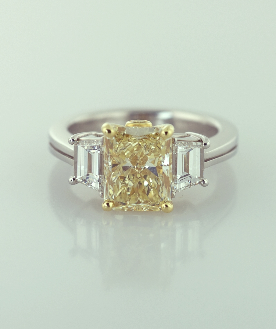 Natural Yellow Color Radiant Diamond With Side Baguettes Ring Within Most Recently Released Anniversary Rings With Baguettes (View 14 of 25)