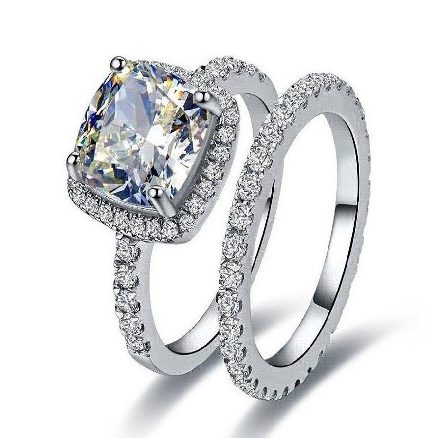 Online Shop Royal 2ct Vvs1 Halo Synthetic Diamonds Engagement Ring With Most Current Engagement Wedding And Anniversary Rings Sets (View 14 of 25)