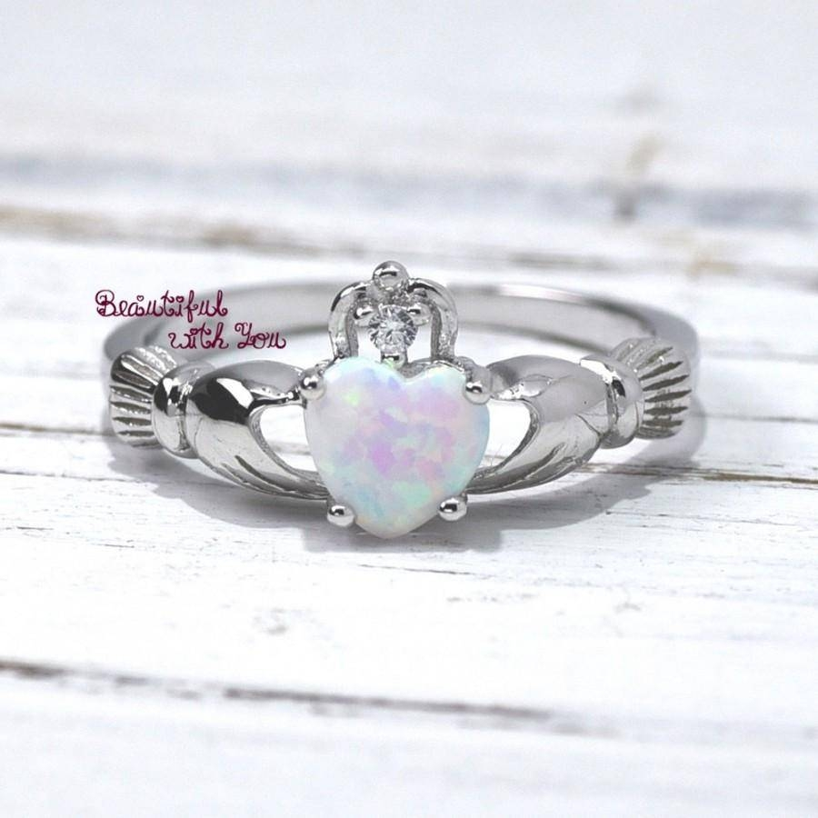Opal Claddagh Ring, Traditional Irish Ring, Celtic Design, White Within Current Irish Anniversary Rings (View 12 of 25)