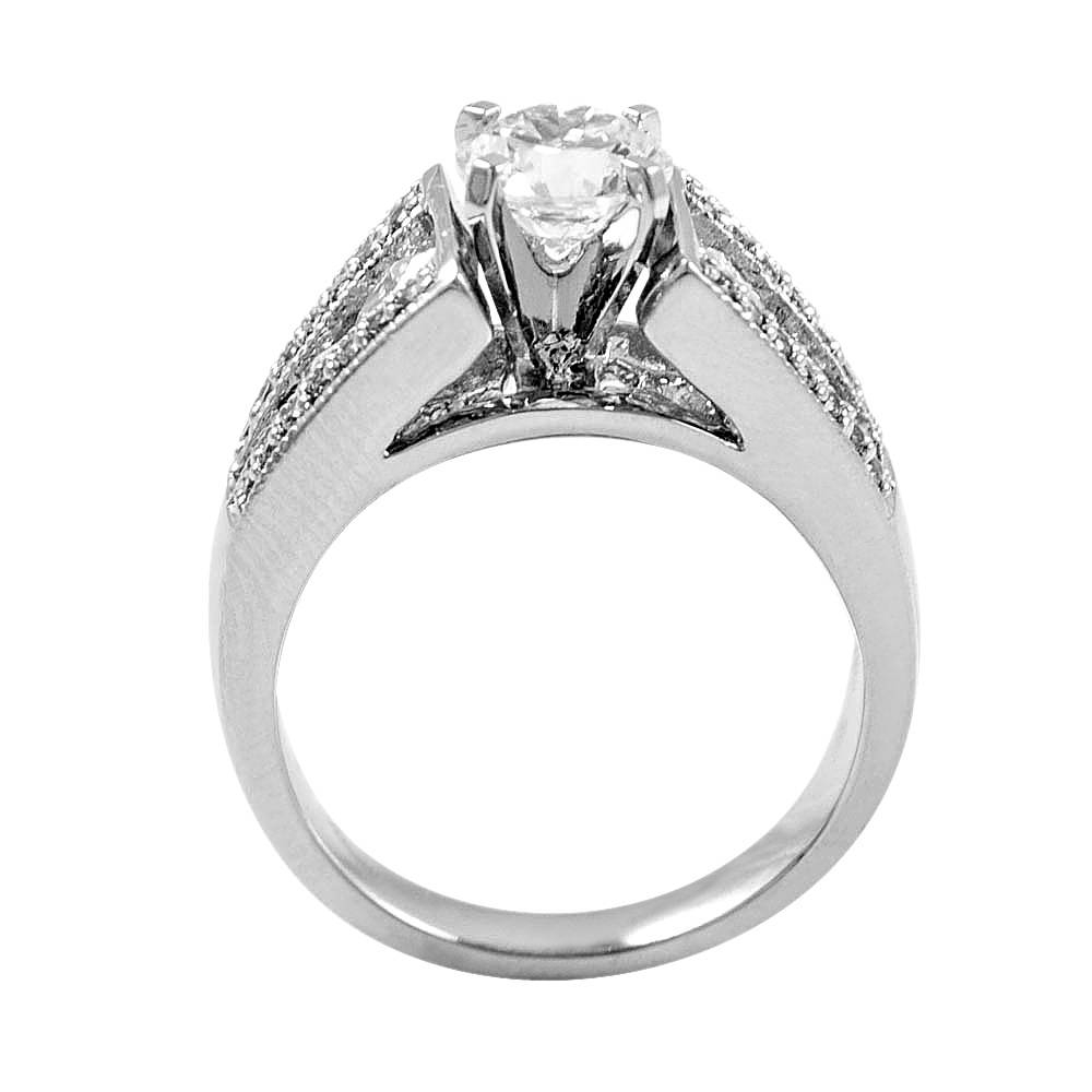 Open Cathedral Pavé Wide Band Engagement Setting ( (View 16 of 25)