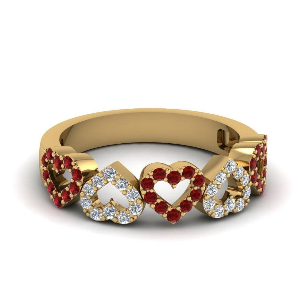 Open Heart Diamond Anniversary Band With Ruby In 14K Yellow Gold Throughout Recent Yellow Gold Anniversary Rings (Gallery 22 of 25)