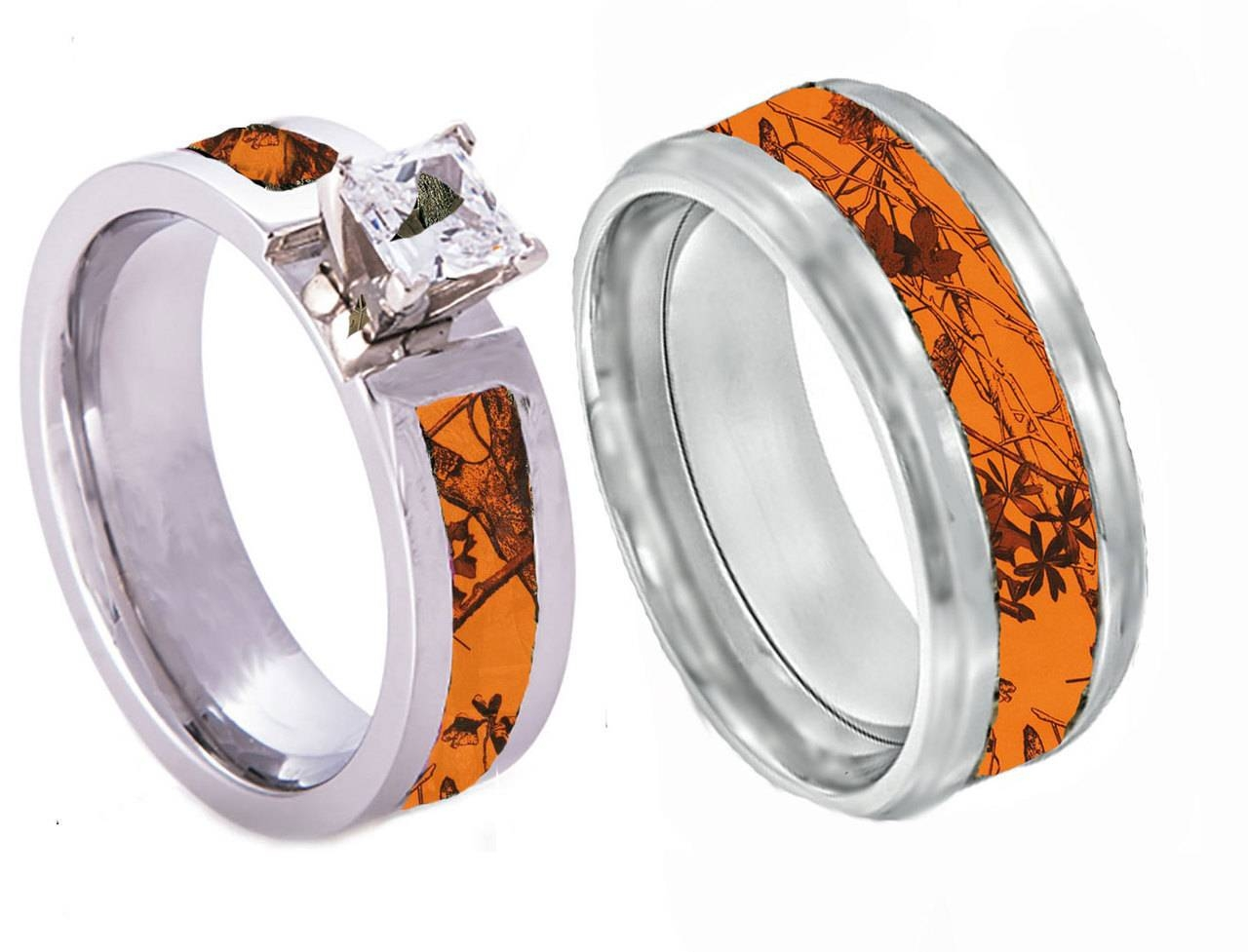 Orange Camo Wedding Rings | Wedding Corners Within Most Current Camo Anniversary Rings (Gallery 3 of 25)
