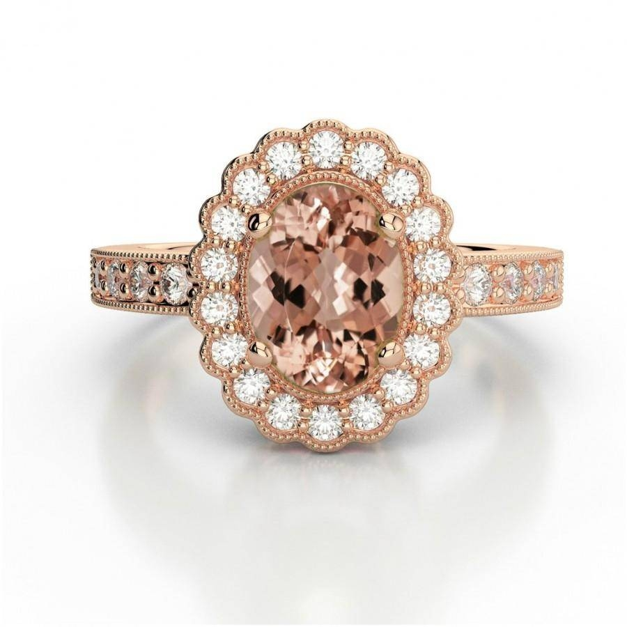 Oval Morganite & Diamond Halo Vintage Ring – Morganite Wedding Inside Recent Gemstone Anniversary Rings (View 17 of 25)