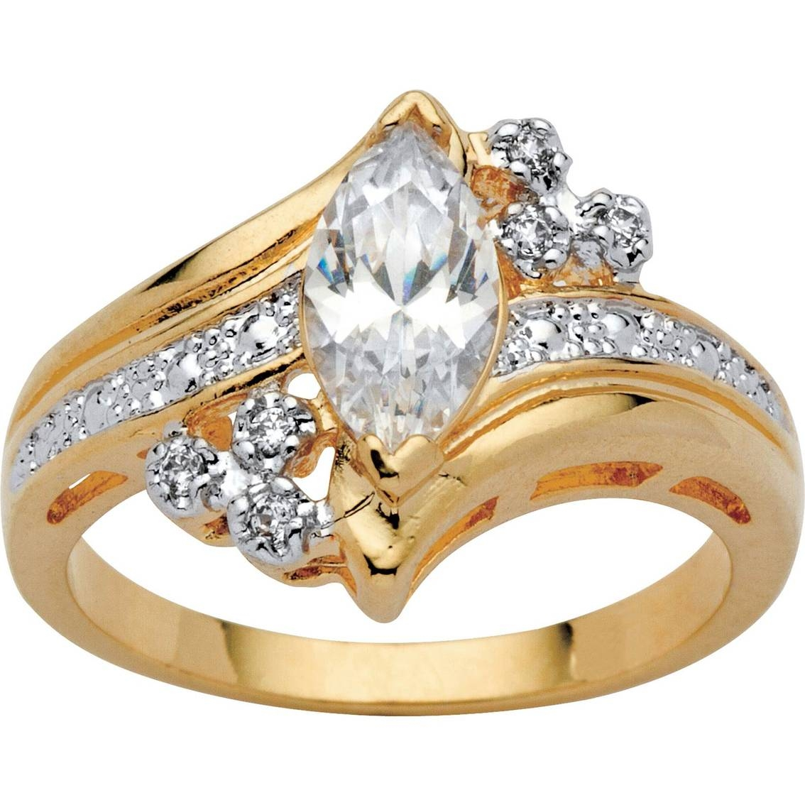 Palmbeach 14K Yellow Gold Plated Marquise Cut Cubic Zirconia With Regard To Most Popular Yellow Gold Anniversary Rings (Gallery 15 of 25)