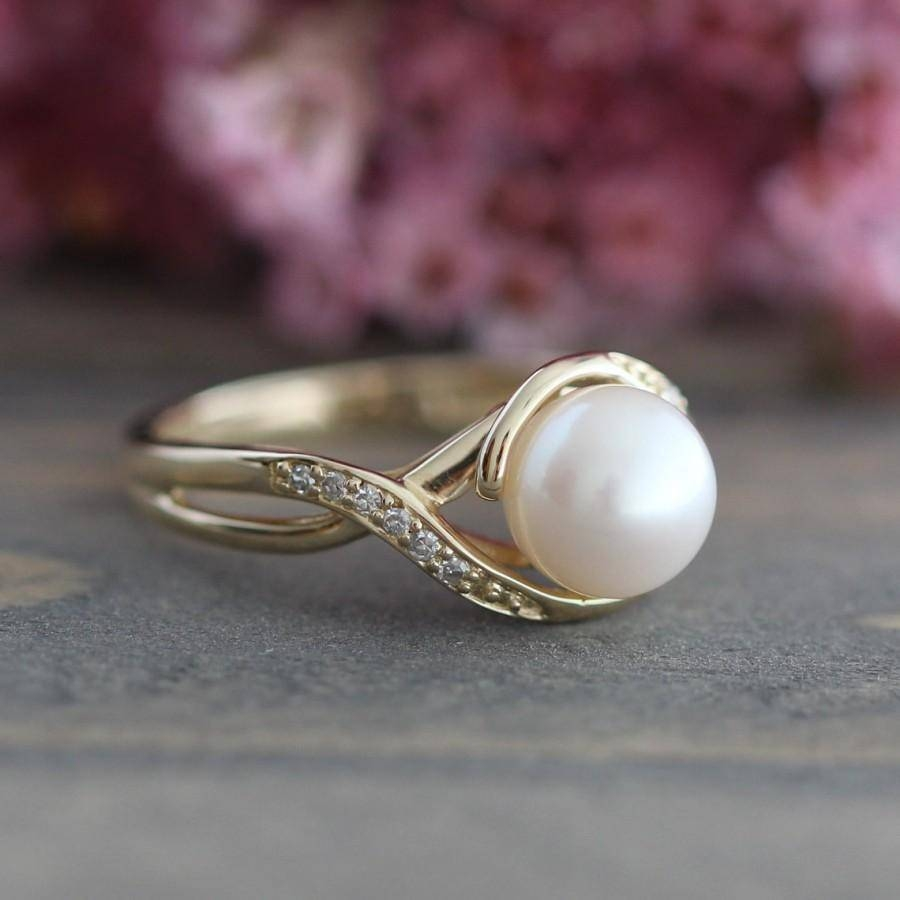 Pearl Engagement Ring In 10K Yellow Gold Infinity Diamond Wedding With Regard To Most Popular Infinity Anniversary Rings (Gallery 19 of 25)