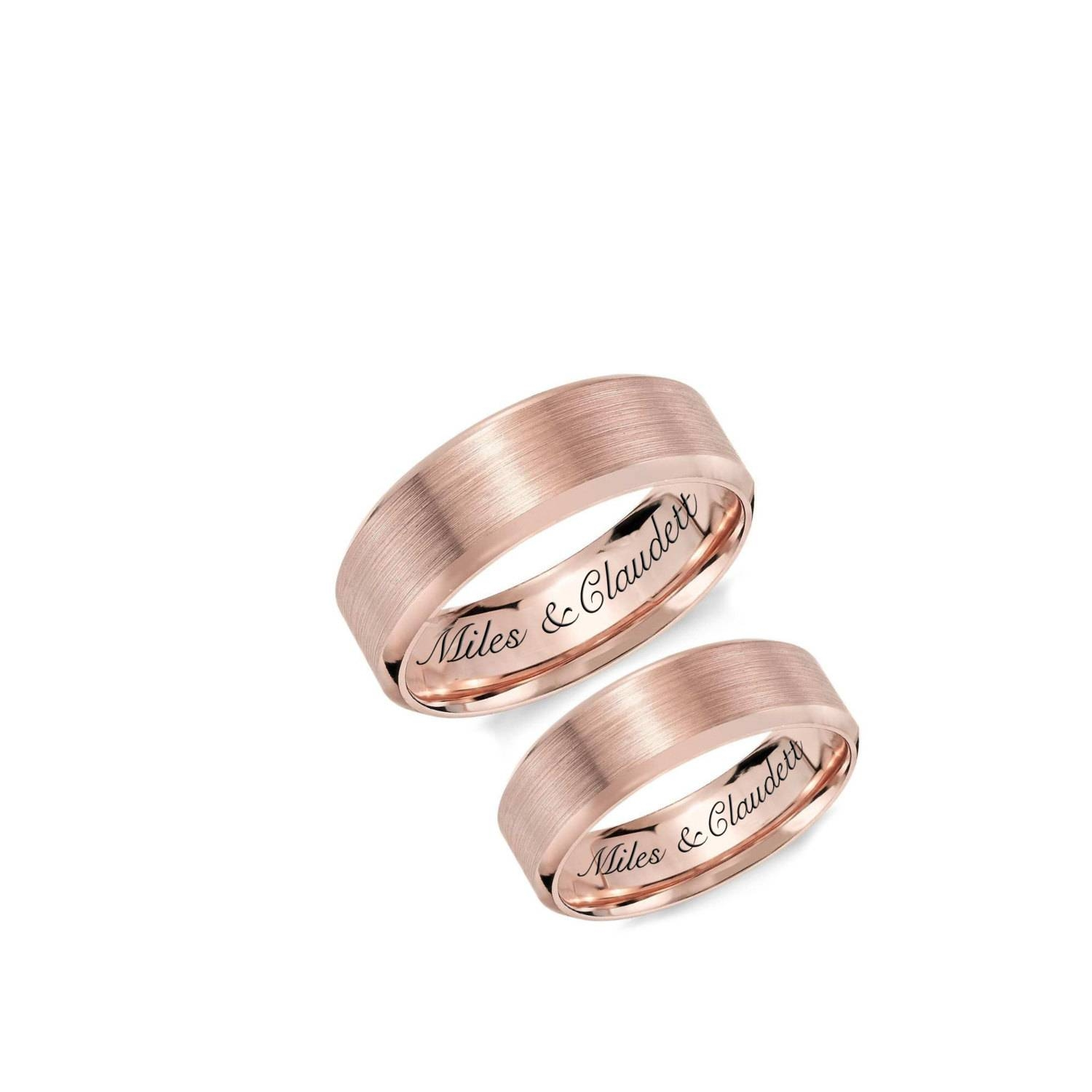 Personalized Rings Engraved Rings Rose Gold Ring Set Regarding 2018 Anniversary Rings For Couples (View 12 of 25)