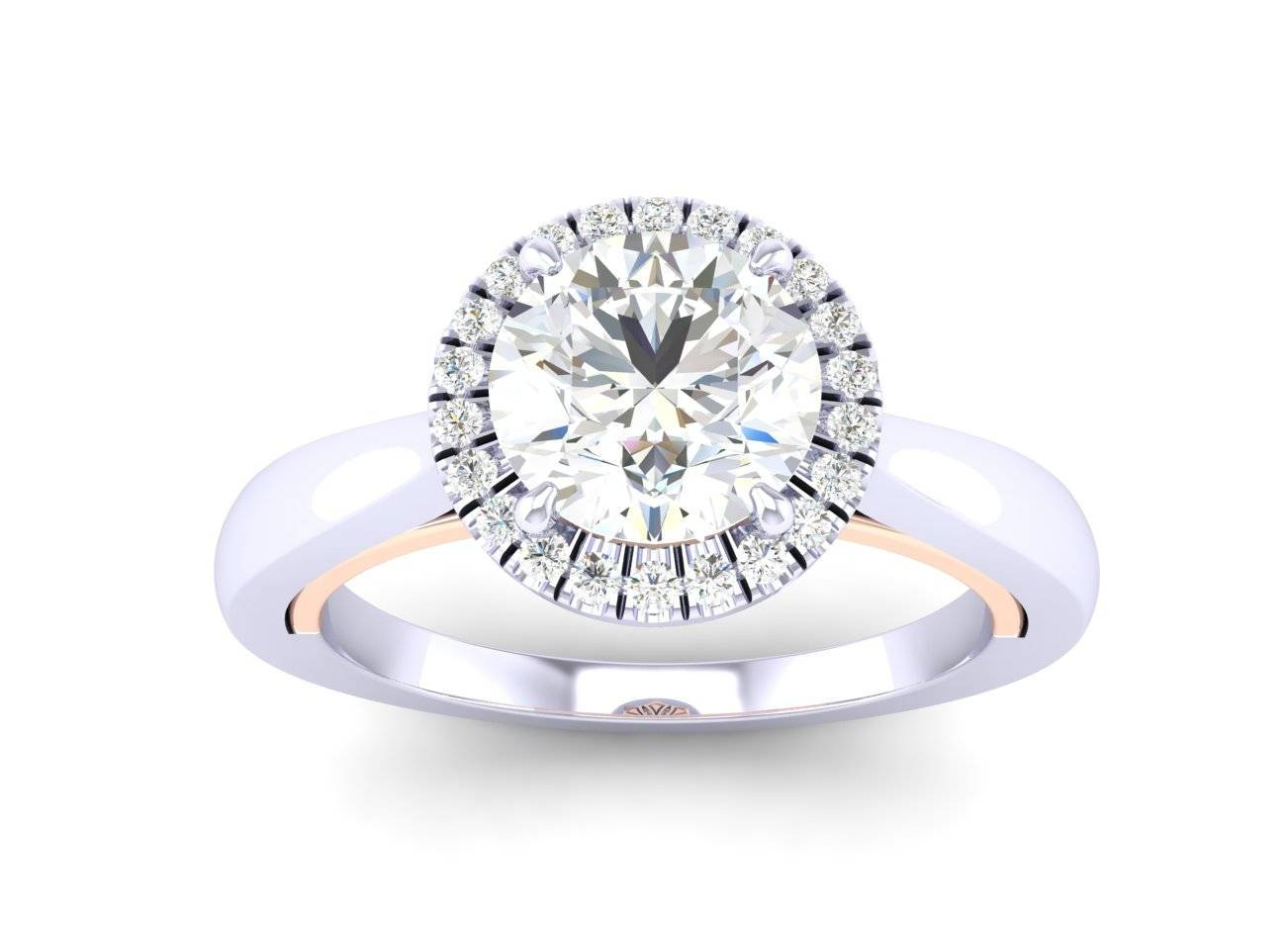Petite 18K White/rose Gold Two Tone Halo Engagement Ring Throughout Recent Two Tone Anniversary Rings (View 17 of 25)