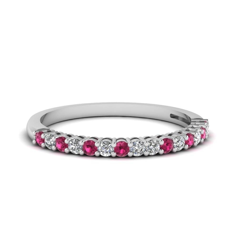 Pink Sapphire Basket Prong Round Diamond Anniversary Band In 14K Throughout Current Diamond And Sapphire Anniversary Rings (View 15 of 25)