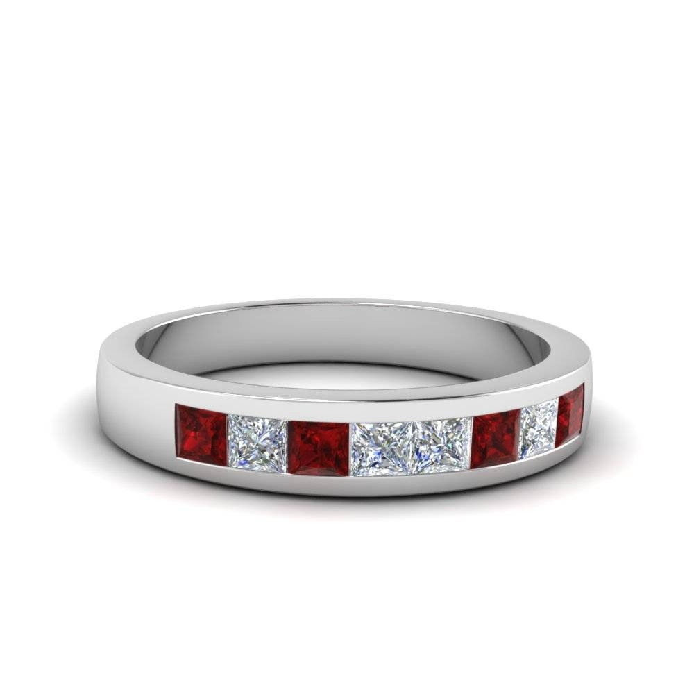 Platinum Channel Red Ruby Wedding Band | Fascinating Diamonds Inside Most Popular Ruby And Diamond Anniversary Rings (View 15 of 25)