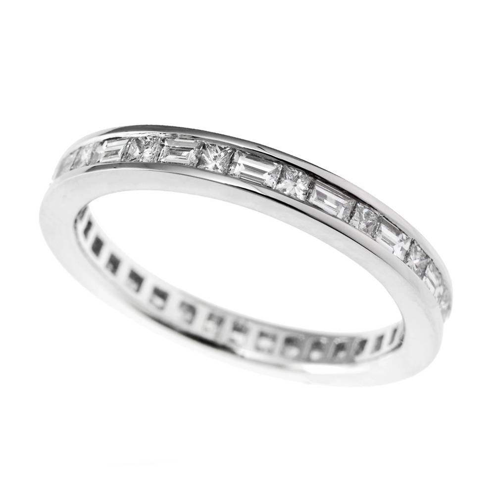 Platinum Channel Set Princess And Baguette Diamond Full Eternity Ring Inside 2018 Baguette Anniversary Rings (Gallery 6 of 25)