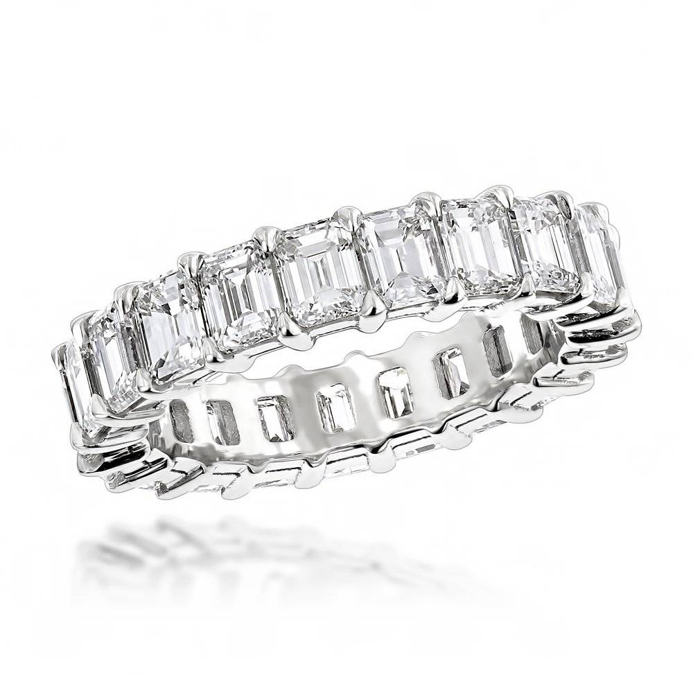 Platinum Emerald Diamond Eternity Band 6.64Ct Vs Diamond For Latest Platinum Diamond Anniversary Rings (Gallery 17 of 25)
