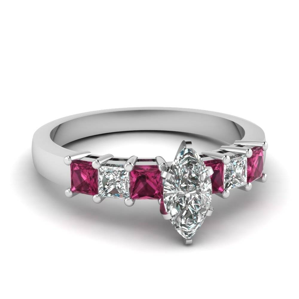 Platinum Marquise Shaped Princess Cut Prong Pink Sapphire Side Pertaining To Most Up To Date 7 Marquise Diamond Anniversary Rings (View 20 of 25)