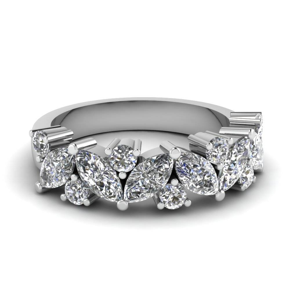 Platinum White Diamond Wedding Band | Fascinating Diamonds Throughout Most Current 7 Marquise Diamond Anniversary Rings (Gallery 12 of 25)