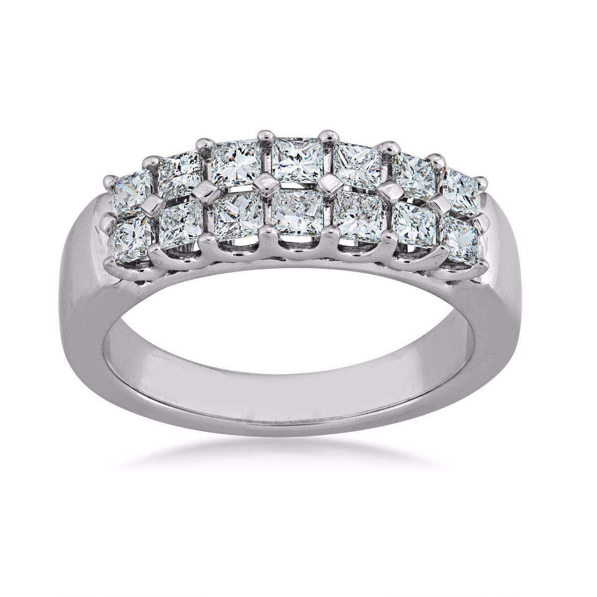 Princess Cut Diamond Anniversary Ring In 14 Kt (View 16 of 25)