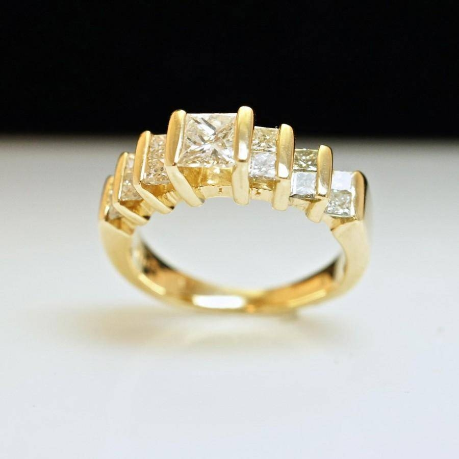 Princess Cut Diamond Engagement Ring Or Anniversary Band – 14k Inside Most Current Yellow Diamond Anniversary Rings (View 13 of 25)